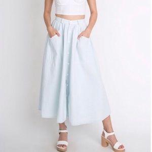 American Apparel XS denim button up midi skirt